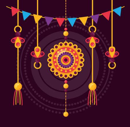 happy raksha bandhan ornament pennants decoration vector illustration