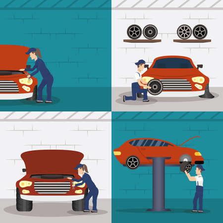 set of scenes with mechanics working characters vector illustration design 矢量图像