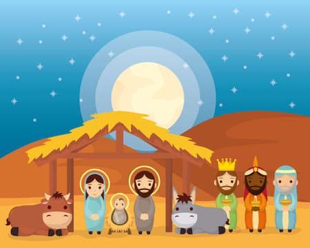 celebration merry christmas manger stable family magicians kings and animals vector illustration 矢量图像