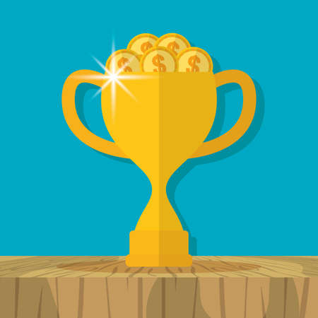 trophy filled coins business success productivity vector illustration Ilustrace