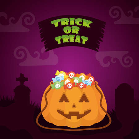 halloween dark scene with pumpkin and candies vector illustration design 向量圖像