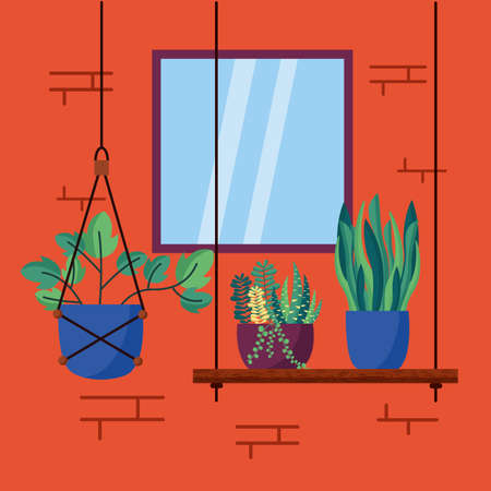 decorative house plants interior colorful background vector illustration