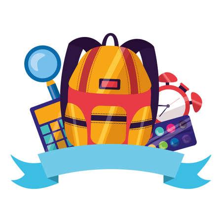 backpack calculator clock palette color emblem back to school vector illustration  イラスト・ベクター素材
