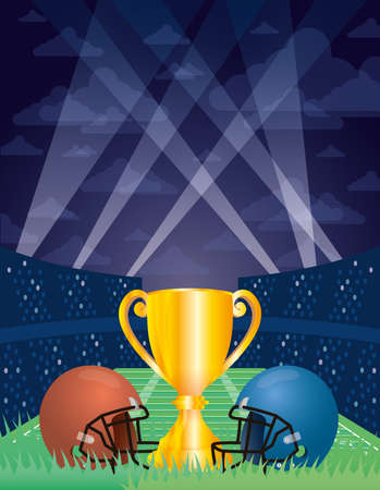 superbowl sport poster with trophy cup and helmets vector illustration  イラスト・ベクター素材