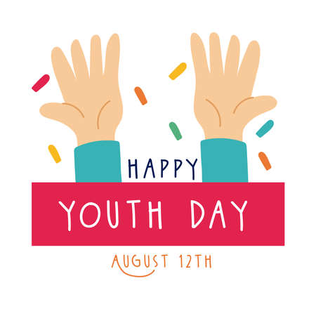 happy youth day lettering with hands symbols flat style vector illustration design