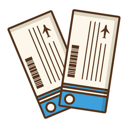 airline tickets boarding pass on white background vector illustration Vettoriali