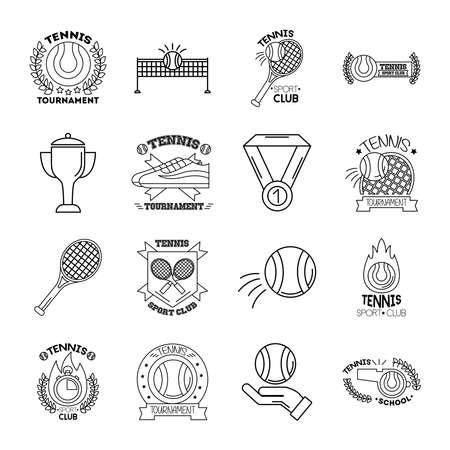 bundle of sixteen sport tennis set collection icons vector illustration design