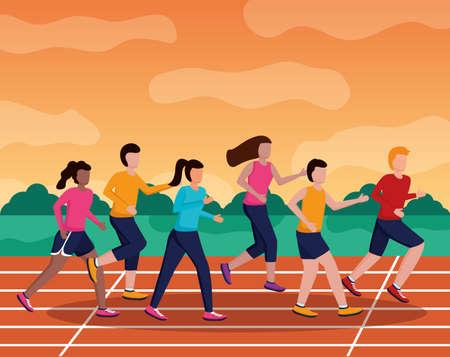 men and woman training running track activity vector illustration