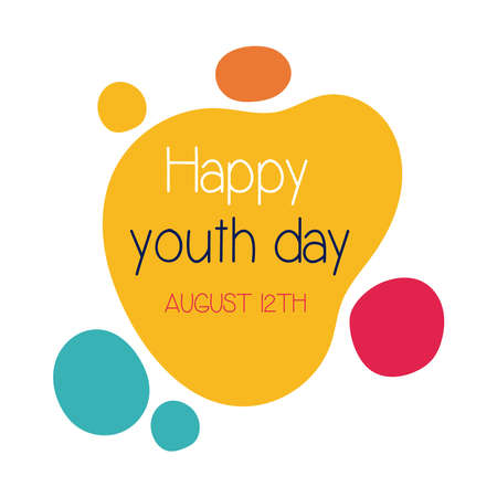 happy youth day lettering with colors balls flat style vector illustration design Vettoriali