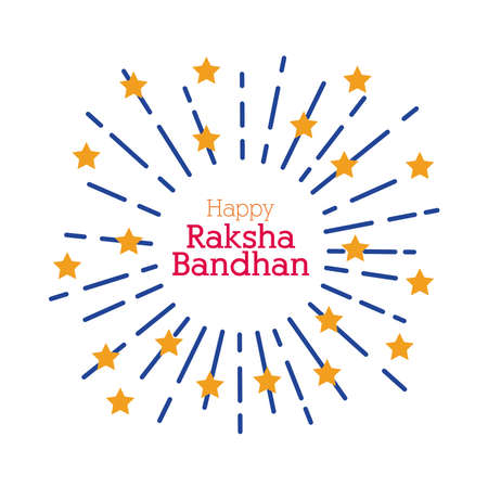 happy raksha bandhan fireworks splash with stars flat style vector illustration design