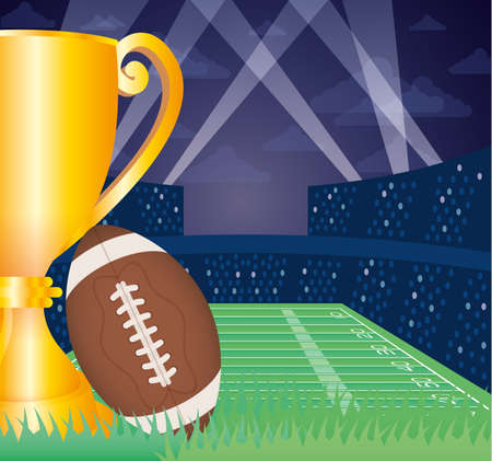 superbowl sport poster with balloon and trophy in stadium vector design  イラスト・ベクター素材