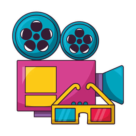 projector 3d glasses cinema movie vector illustration Ilustração