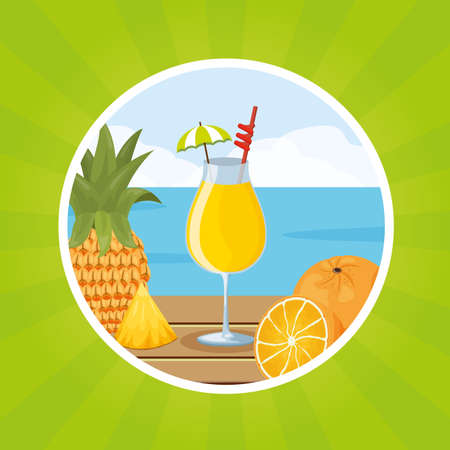 tropical fruits cocktail pineapple orange beach on table vector illustration