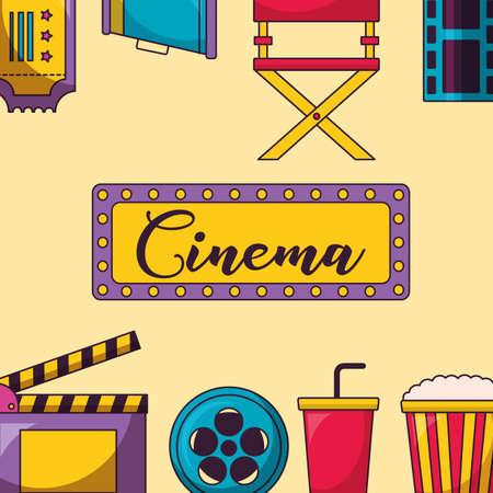 signboard clapboard reel soda pop corn speaker frame cinema movie vector illustration Ilustração