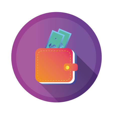 wallet with bills detailed style icon vector illustration design