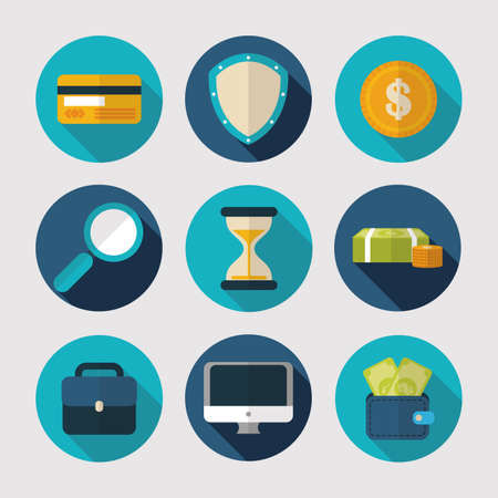 finance business office icons collection vector illustration 向量圖像