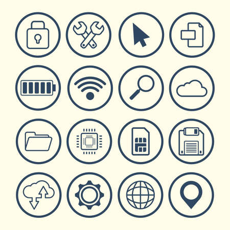 collection of devices and gadgets technology vector illustration
