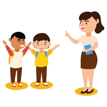 teacher female worker with schoolboys vector illustration design 向量圖像