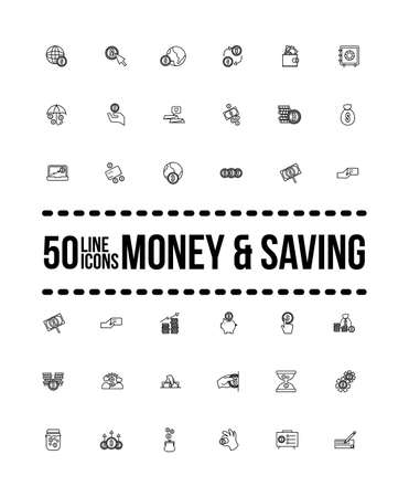 bundle of saving set icons with lettering line style vector illustration design