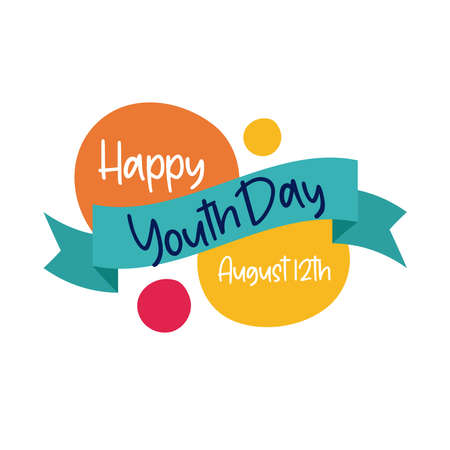 happy youth day lettering with ribbon frame flat style vector illustration design