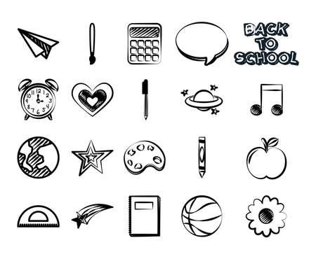 bundle of set monochrome back to school icons vector illustration design