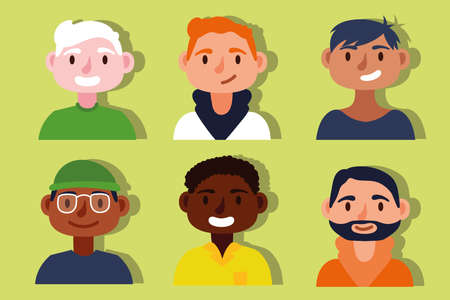 group of interracial men Inclusion concept characters vector illustration design