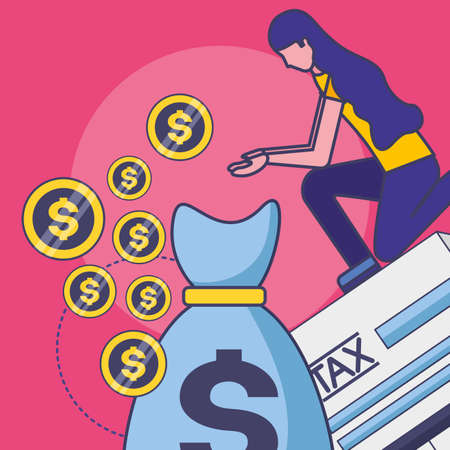 Avatar woman with tax design, Money finance accounting commerce market payment and government theme Vector illustration 向量圖像