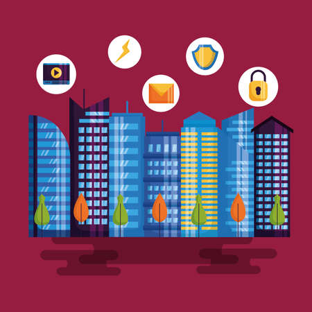 monitoring utility services buildings architecture smart city vector illustration