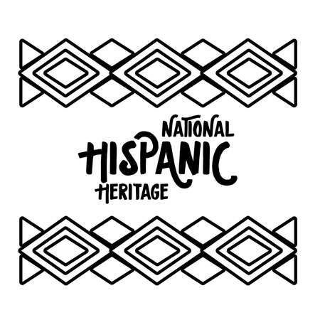 national hispanic heritage lettering in ethnic frame line style icon vector illustration design