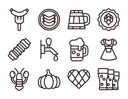 bundle of twelve oktoberfest set icons vector illustration design