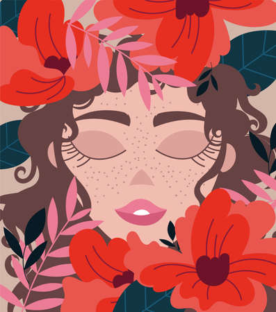 beautiful woman with brown hair and floral decoration vector illustration design