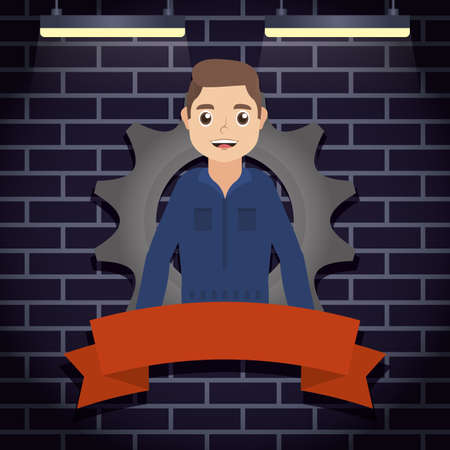 mechanic worker with gear character vector illustration design 矢量图像