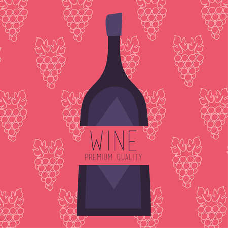 wine premium quality poster with bottle and grapes vector illustration