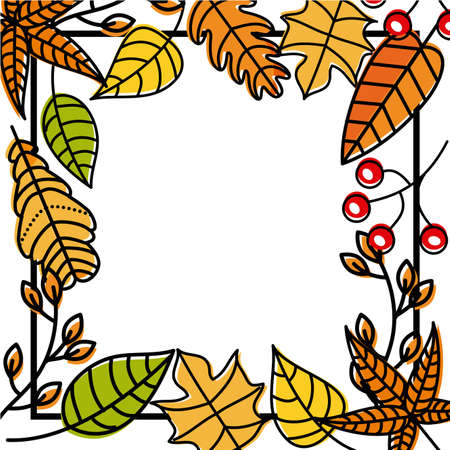 autumn leaves natural decoration foliage vector illustration