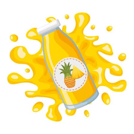 pineapple splash juice bottle tropical fruits design vector illustration
