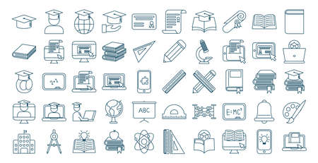 bundle of graduation and elearning icons vector illustration design