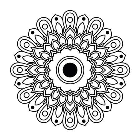 decorative floral monochrome mandala ethnicity artistic icon vector illustration design 向量圖像