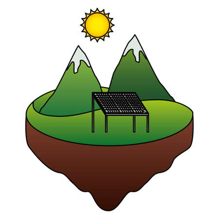 eco friendly mountains solar panel energy vector illustration