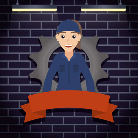 female mechanic worker with gear character vector illustration design 矢量图像