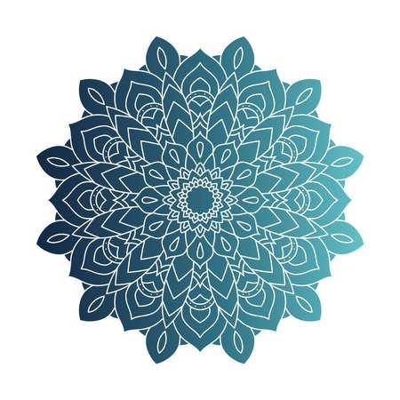 decorative floral blue mandala ethnicity artistic icon vector illustration design