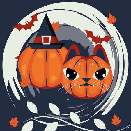 halloween cat head disguised of pumpkin character vector illustration design Vector Illustration