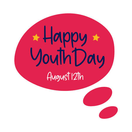 happy youth day lettering in speech bubble flat style vector illustration design