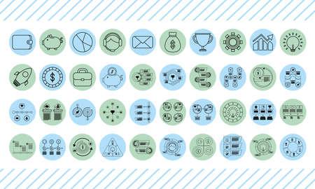 bundle of infographics set line style icons vector illustration design