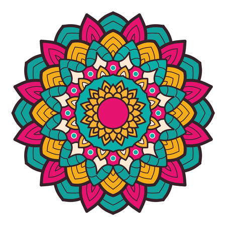 decorative floral colorful mandala ethnicity artistic icon vector illustration design 向量圖像