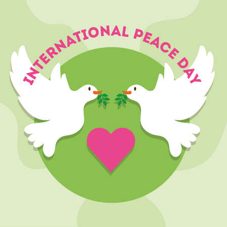 International Day of Peace lettering with heart and doves flying vector illustration design Ilustrace