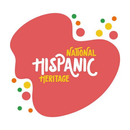 national hispanic heritage lettering flat style vector illustration design