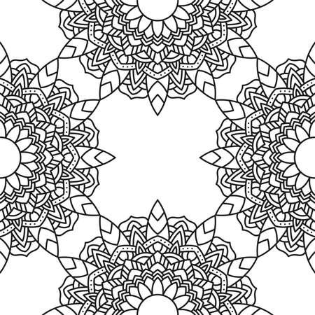 decorative floral monochrome mandala ethnicity pattern background vector illustration design