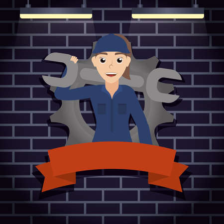 female mechanic worker with wrench character vector illustration design 矢量图像