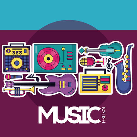 turntable vinyl guitar fiddle saxophone trumpet instruments festival music poster vector illustration