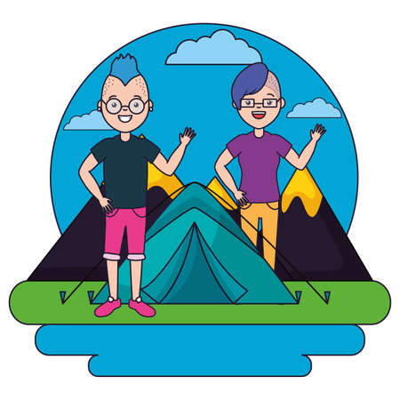 young man and woman camping forest mountains vector illustration